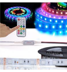 PRO-DJ TIRA LED FLEXIBLE RGB INTELIGENTE + FUENTE + MANDO