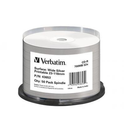 VERBATIM CD-R 700MB 52X PRINTABLE PLATEADO
